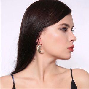 Moon and Star Piercing Earrings